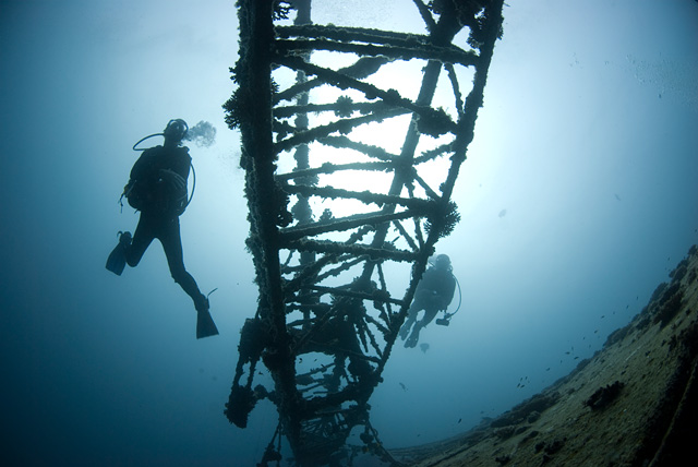 Divers at a Wreck