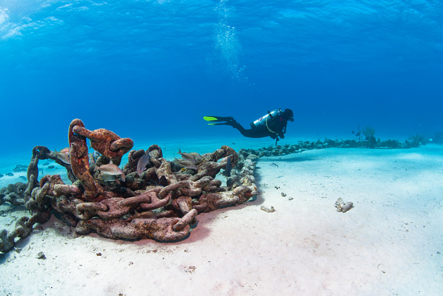Diver at Anchor Chain